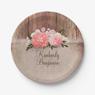 Rustic Wood Old Burlap Pink Flowers Barn Wedding Paper Plate