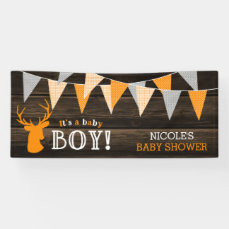 Rustic Wood Orange Deer Boy Baby Shower Banner