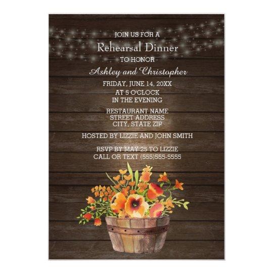 Rustic Wood Orange Flowers Wedding Rehearsal Card