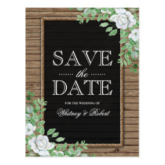 Rustic Wood Organic Greenery Floral Save the Date Postcard