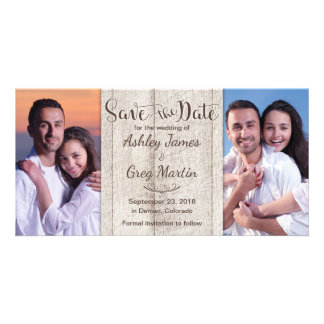 Rustic Wood Photo Collage Wedding Save the Date Card