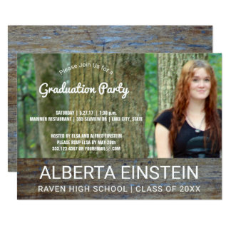 Rustic Wood Photo Graduation Party Card