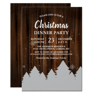 Rustic Wood Pine Tree Holiday Party Invitation