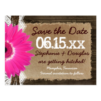Rustic Wood Pink Daisy Save the Date Postcards