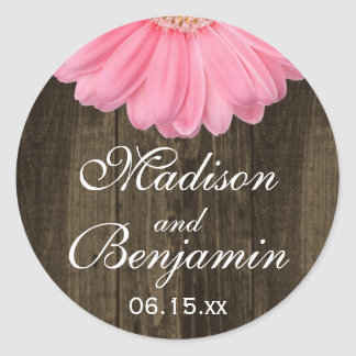 Rustic Wood Pink Daisy Wedding Favor Stickers