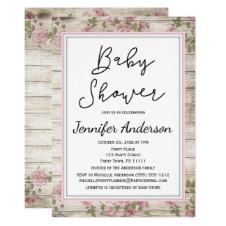Rustic Wood Pink Floral Baby Shower Card