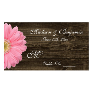 Rustic Wood Pink Gerber Daisy Wedding Place Cards Double-Sided Standard Business Cards (Pack Of 100)