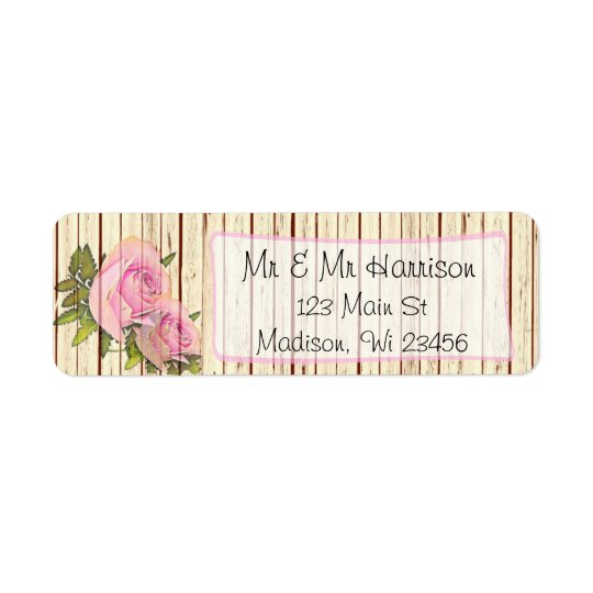 Rustic Wood Pink Rose Shabby Return Address Labels