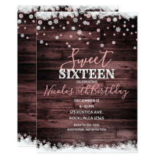 Rustic Wood Pink Rose Snowy Winter Sweet 16 Party Card