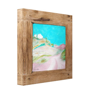Rustic wood pink turquoise landscape canvas print