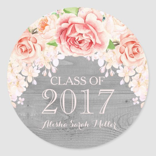 Rustic Wood Pink Watercolor Flower Graduation 2017 Classic Round Sticker