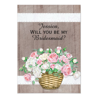 Rustic Wood Pink White Basket of Roses  Bridesmaid Card