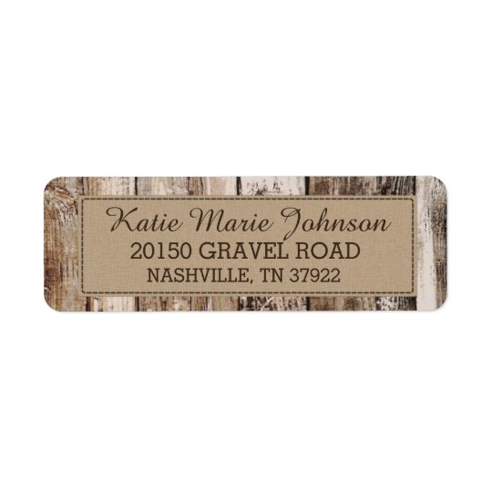 Rustic Wood Planks Country Western Wedding Label