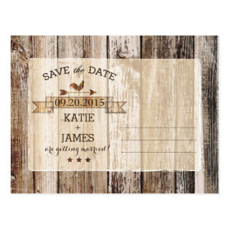 Rustic Wood Planks Heart Etching Save the Date Postcard