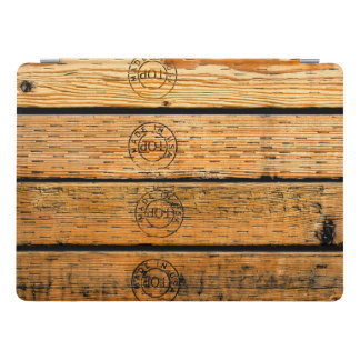 "Rustic Wood Planks Stamped with ""Made in USA"" iPad Pro Cover"