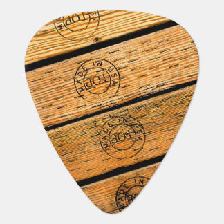 """Rustic Wood Planks Stamped with """"Made in USA"""" Plectrum"""
