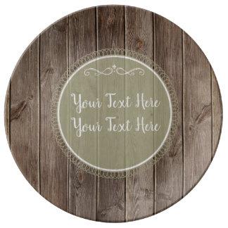 rustic wood plate