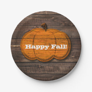 Rustic Wood Pumpkin Country Halloween Fall Party Paper Plate