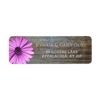 Rustic Wood Purple Daisy | Country Wedding Labels