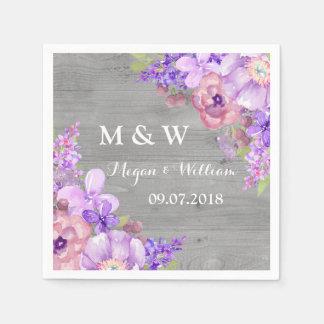 Rustic Wood Purple Flowers Wedding Monogram Disposable Serviette