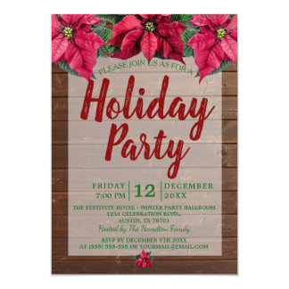 Rustic Wood Red and Green Poinsettia Holiday Party Card