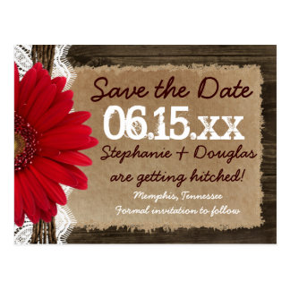 Rustic Wood Red Daisy Save the Date Postcards