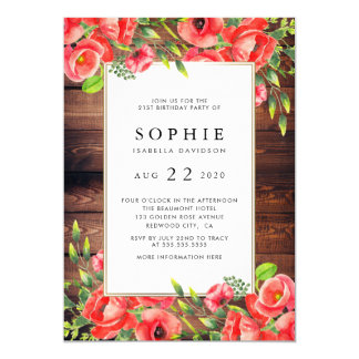 Rustic Wood & Red Poppy Floral Birthday Party Card