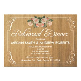 Rustic Wood Rehearsal Dinner Invitation