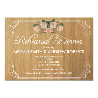Rustic Wood Rehearsal Dinner Invitation