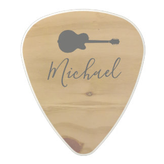 rustic wood rock guitar picks + handwritten name
