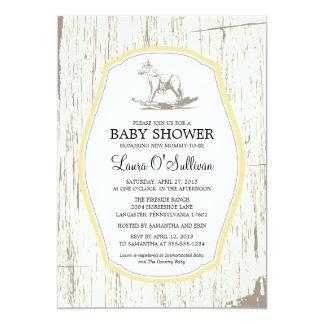 Rustic Wood Rocking Horse Baby Shower 13 Cm X 18 Cm Invitation Card