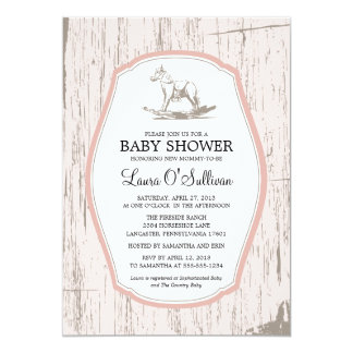 Rustic Wood Rocking Horse Baby Shower 13 Cm X 18 Cm Invitation Card