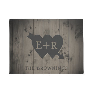 Rustic Wood Romantic Hearts Monogram Initials Doormat