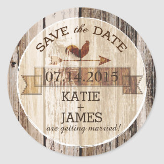 Rustic Wood Rooster Weather Vane Save the Date Round Sticker