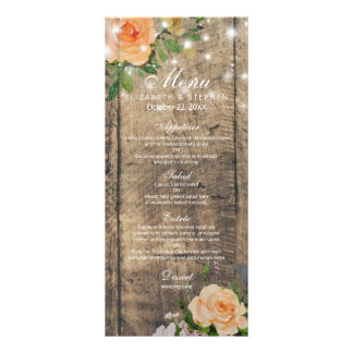 Rustic Wood Rose Floral String Lights Wedding Menu