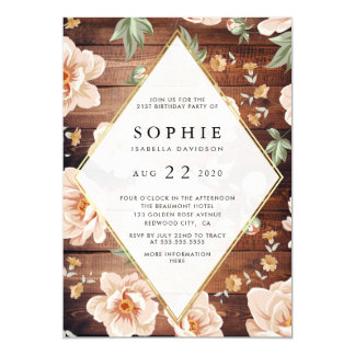Rustic Wood & Roses | Gold Floral Birthday Party Card
