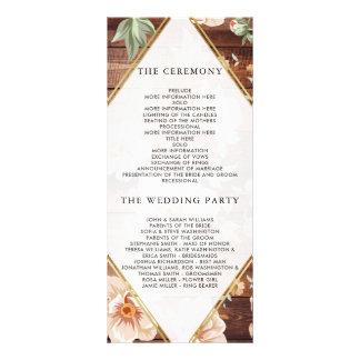 Rustic Wood & Roses | Gold Floral Wedding Program Rack Card