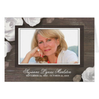 Rustic Wood Roses Photo Sympathy Thank You Card