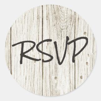 Rustic Wood RSVP Classic Round Sticker
