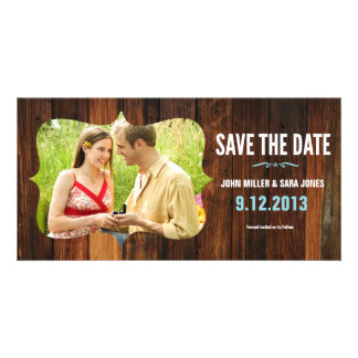 Rustic Wood Save The Date Custom Photo Card