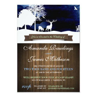 Rustic Wood & Silhouettes Campground Wedding Invit Card