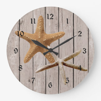 Rustic Wood Starfish Wallclocks