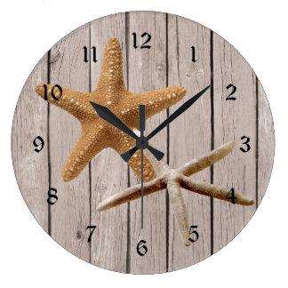 Rustic Wood Starfish Wallclocks