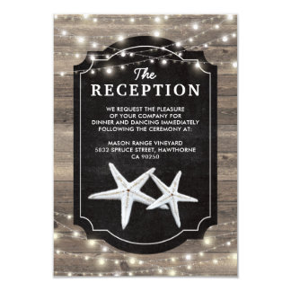 Rustic Wood Starfish Wedding Reception Card