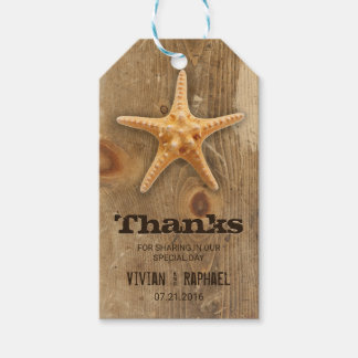 Rustic Wood & Starfish Wedding Thank You Gift Tags
