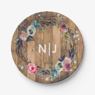 Rustic Wood Stick Floral Wreath Botanical Wedding Paper Plate