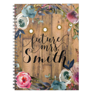 Rustic Wood Stick Floral Wreath Lights Future Mrs. Notebook