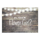 Rustic wood string light Will you be my FlowerGirl Card