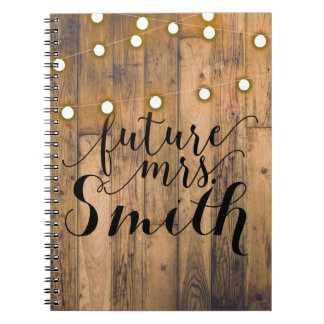 Rustic Wood & String Lights Future Mrs. Notebook
