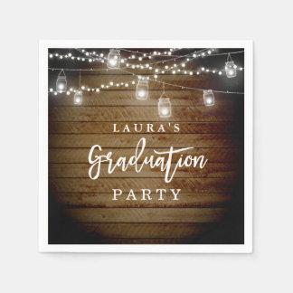 Rustic Wood String Lights Graduation Party Napkin Disposable Serviette